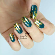 distressed gold nail foil design with tutorial nailart affection