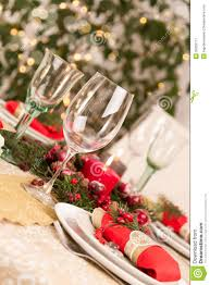 christmas table setting with holiday decorations stock image