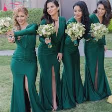 find more bridesmaid dresses information about green long sleeve
