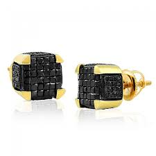 back diamond earrings cut 0 50 ctw black diamond dice earrings studs 10k gold back