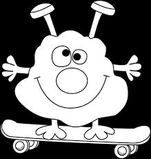 black and white black and white monster on a skateboard little