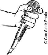 vector clip art of sketch of hand with crossed fingers vector