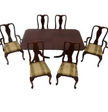 knob creek cherry queen anne style dining table and six chairs ebth