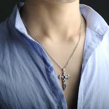 necklace women vintage images Blue sweet couple necklaces angel wing sword cross pendant jpg