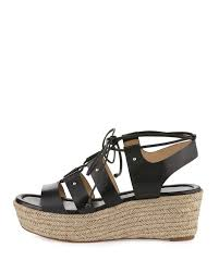 lyst michael michael kors sofia lace up mid wedge sandal in natural