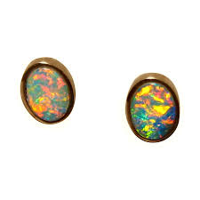gold studs bright colorful oval opal stud earrings 14k gold flashopal