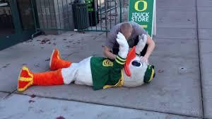 oregon duck mascot found unconscious youtube