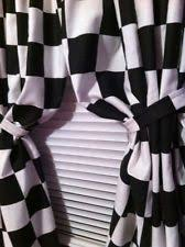 Drapes Black And White Checkered Flag Curtains Ebay