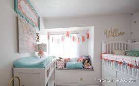 coral and teal nursery start at home decor