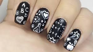 chalkboard nails freehand nail art youtube