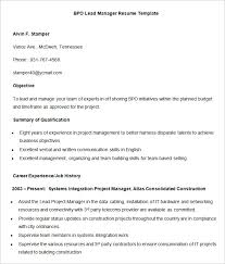 Project Manager Example Resume by Bpo Resume Template U2013 22 Free Samples Examples Format Download