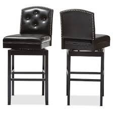Baxton Studio Bar Stools Ginaro Modern And Contemporary Faux Leather Button Tufted