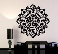 vinyl wall decal yoga studio mandala lotus flower home decor