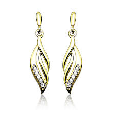 gold earrings uk grace co leaf drop diamond 9ct yellow gold earrings