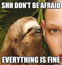 Everything Is Fine Meme - shh don t be afraid everything is fine rape sloth quickmeme
