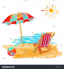 Beach Chair Umbrella Set Watercolor Summer Beach Set Waves Sea Stock Vector 252309136