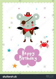 cute bat pirate happy birthday greeting stock vector 321319280