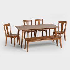 brown wood weston mid century fixed dining table world market