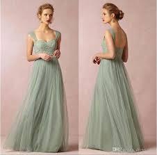 2016 new sage cap sleeves lace bridesmaid dresses backless long