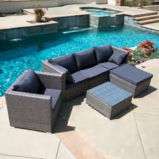 6pc outdoor patio patio sectional furniture pe wicker rattan sofa