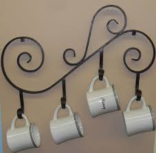 coffee mug holder wall mounted made out of wrought iron 34 75