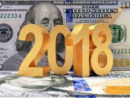 new year dollar bill golden 2018 new year on the background of the dollar bills 3d