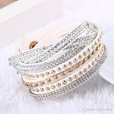 leather bracelet jewelry images Women new fashion pu leather wrap wristband cuff punk rhinestone jpg