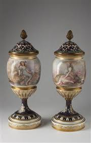 art and antiques pair of decorative vases with lids dorotheum
