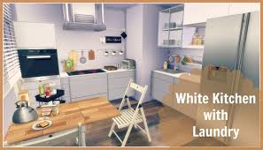 sims 4 white kitchen with laundry dinha