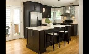 cuisine brun tabouret rond simple en cuir noir armoire de cuisine brun foncé