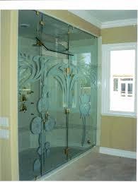 bathroom gorgeous black polished sliding glass shower doors