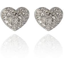 heart stud earrings swarovski heart stud earrings polyvore