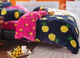 bright yellow pineapple print 4 piece coral fleece duvet cover