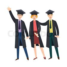 college graduation cap and gown three happy college graduates students in graduation cap and gown
