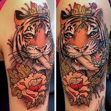 collection of 25 tiger and lotus tattoos on half sleeve
