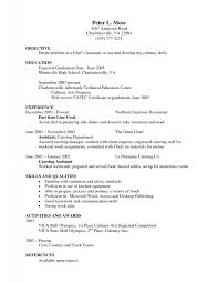 cover letter pastry chef resume example resume objective example