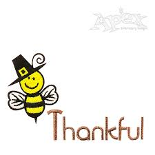 thanksgiving bee thankful embroidery design