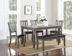 6 pc dining table set crown mark 2361t 6pc 6 pc cosgrove collection grey finish wood