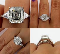 asscher cut diamond engagement rings huge art deco 5 38ct asscher square emerald cut diamond