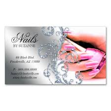 Salon Business Card Ideas Nail Salon Business Card Glitter Pink Silver Salon Business