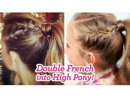 hair styles in two ponies double french into high pony cute girls hairstyles youtube