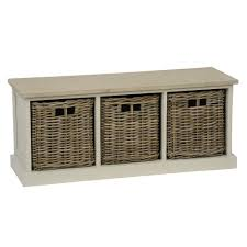 southwold bench with 3 rattan baskets in grey from tobs amazon co