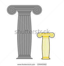 Greek Pedestal Roman Column Pedestal Pillar Foundation Line Stock Vector