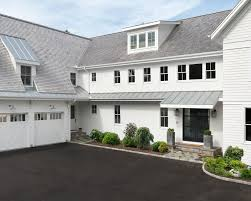 silver metal roof with gas fireplaces exterior farmhouse and