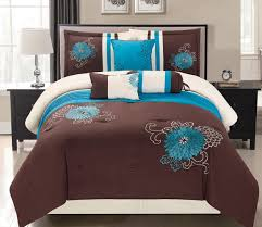 Blue And Brown Bed Sets 7 Modern Oversize Turquoise Blue Brown Beige
