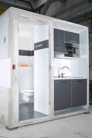 hybrid pod combining bathroom and kitchen