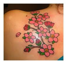 great looking cherry blossom tree design on lower back