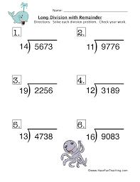 long division remainder worksheet 2