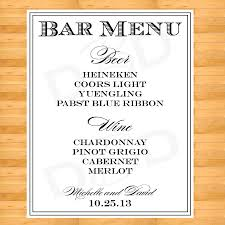 wedding bar menu template custom chalkboard wedding drink menu choose your size rustic
