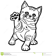 cute cat stripes sitting outline stock illustration image 84618347